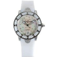 Ulysse Nardin Marine Automatic White Diamond Bezel with Diamond MOP Dial White Rubber Strap
