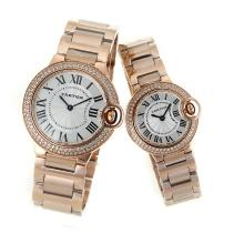 Cartier Ballon bleu de Cartier Full Rose Gold Diamond Bezel with White Dial Couple Watch