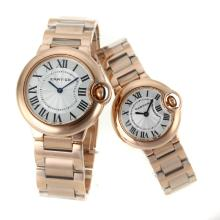 Cartier Ballon bleu de Cartier Full Rose Gold with White Dial Couple Watch