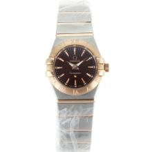 Omega Constellation Two Tone Stick Markers with Brown Dial Same Chassis as ETA Version-Lady Size