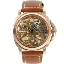 Panerai Skeleton Unitas 6497 Movement Manaul Winding Rose Gold Case with Golden Skeleton Dial New Version
