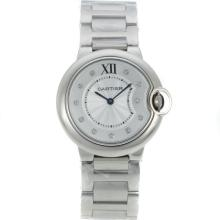 Cartier Ballon bleu de Cartier Diamond Markers with White Dial S/S-Sapphire Glass