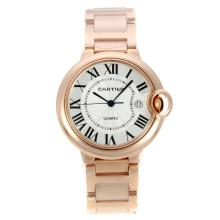 Cartier Ballon bleu de Cartier Full Rose Gold with White Dial Sapphire Glass-1