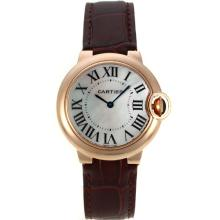 Cartier Ballon bleu de Cartier Rose Gold Case with MOP Dial Brown Leather Strap-Sapphire Glass