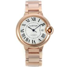 Cartier Ballon bleu de Cartier Automatic Full Rose Gold with White Dial Sapphire Glass