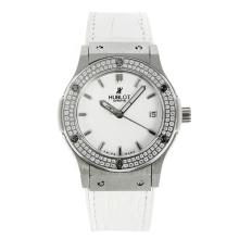 Hublot Classic Fusion Diamond Bezel with White Dial Lady Size