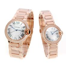 Cartier Ballon bleu de Cartier Full Rose Gold Diamond Bezel with Mop Dial Couple Watch