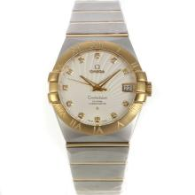 Omega Constellation Swiss ETA 2836 Movement Two Tone Diamond Markers with White Dial Sapphire Glass-4