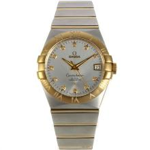 Omega Constellation Swiss ETA 2836 Movement Two Tone Diamond Markers with White Dial Sapphire Glass-3