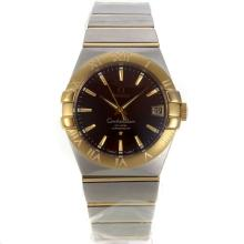 Omega Constellation Swiss ETA 2836 Movement Two Tone Stick Markers with Brown Dial Sapphire Glass