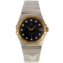Omega Constellation Swiss ETA 2836 Movement Two Tone Diamond Markers Golden Bezel with Black Dial Sapphire Glass