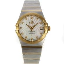 Omega Constellation Swiss ETA 2836 Movement Two Tone Diamond Markers with White Dial Sapphire Glass-2