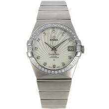Omega Constellation Swiss ETA 2836 Movement Diamond Bezel Diamond Markers with White Dial Sapphire Glass S/S-1