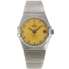 Omega Constellation Swiss ETA 2836 Movement Diamond Bezel Diamond Markers with Yellow Dial Sapphire Glass S/S