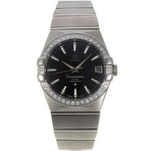 Omega Constellation Swiss ETA 2836 Movement Diamond Bezel Stick Markers with Black Dial Sapphire Glass S/S