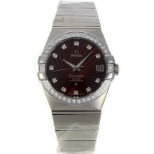 Omega Constellation Swiss ETA 2836 Movement Diamond Bezel and Markers with Brown Dial Sapphire Glass S/S