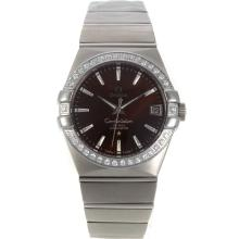 Omega Constellation Swiss ETA 2836 Movement Diamond Bezel with Brown Dial Sapphire Glass S/S