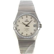 Omega Constellation Swiss ETA 2836 Movement Diamond Bezel Diamond Markers with White Dial Sapphire Glass S/S