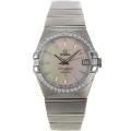Omega Constellation Swiss ETA 2836 Movement Diamond Bezel Stick Markers with MOP Dial Sapphire Glass S/S