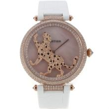 Cartier Panthere de Cartier Rose Gold Case Full Diamond Bezel with Pink MOP Dial Leather Strap