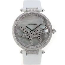 Cartier Panthere de Cartier Full Diamond Case with Grey MOP Dial White Leather Strap