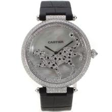 Cartier Panthere de Cartier Full Diamond Case with MOP Dial Black Leather Strap