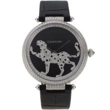 Cartier Panthere de Cartier Full Diamond Case with Black Dial Leather Strap