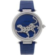 Cartier Panthere de Cartier Full Diamond Case with Blue Dial Leather Strap