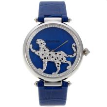 Cartier Panthere de Cartier Diamond Bezel with Blue MOP Dial Leather Strap