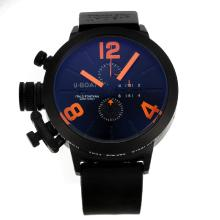 U-Boat Italo Fontana Working Chronograph PVD Case with Black Dial Orange Markers