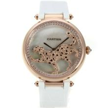 Cartier Panthere de Cartier Rose Gold Case Diamond Bezel with White MOP Dial White Leather Strap