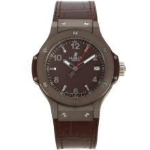 Hublot Big Bang Coffee Case with Brown Carbon Fibre Style Dial-Silver Stick/Number Markers