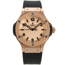 Hublot Big Bang Rose Gold Case Stick/Number Markers with Champagne Dial Black Rubber Strap