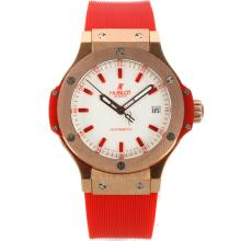 Hublot Big Bang Rose Gold Case with White Dial Red Rubber Strap