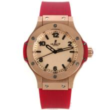 Hublot Big Bang Rose Gold Case Stick/Number Markers with Champagne Dial Red Rubber Strap