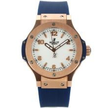 Hublot Big Bang Rose Gold Case Stick/Number Markers with White Dial Blue Rubber Strap