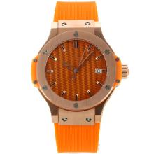Hublot Big Bang Rose Gold Case with Orange Carbon Fibre Style Dial Rubber Strap