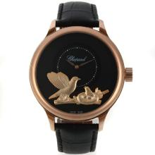Chopard L.U.C Collection Automatic Rose Gold Case with Black Dial Leather Strap