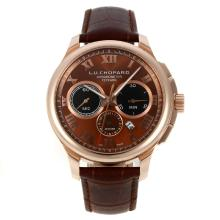 Chopard LUC Automatic Rose Gold Case Roman Markers with Brown Dial Leather Strap