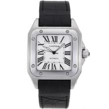 Cartier Santos 100 Automatic with White Dial Deployment Buckle