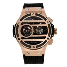 Hublot Big Bang King Working Chronograph Rose Gold Case with Black Dial Rubber Strap-1