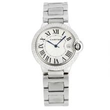 Cartier Ballon bleu de Cartier Diamond Bezel with White Dial S/S-Sapphire Glass-1