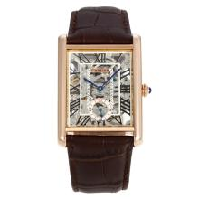 Cartier Tank Manual Winding Rose Gold Case with Skeleton Dial Leather Strap