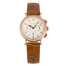 Patek Philippe Classic Working Chronograph Diamond Bezel Rose Gold Case with White Dial Brown Leather Strap