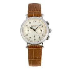 Patek Philippe Classic Working Chronograph Diamond Bezel with White Dial Brown Leather Strap