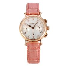 Patek Philippe Classic Working Chronograph Diamond Bezel Rose Gold Case with White Dial Pink Leather Strap