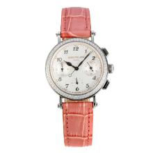 Patek Philippe Classic Working Chronograph Diamond Bezel with White Dial Pink Leather Strap