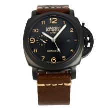 Panerai Luminor Working GMT Automatic PVD Case with Black Dial Coffee Leather Strap-1