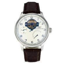 IWC Portugueses Automantic Working Power Reserve with White Dial Leather Strap