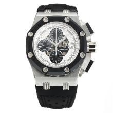 Audemars Piguet Ruben Barrichello Chronograph Swiss Valjoux 7750 Movement PVD Bezel with White Dial-Black Leather Strap-Sapphire Glass-1